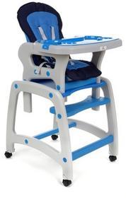 FUN BABY Krzesełko do karmienia dzieci 4 w 1 stolik, krzesełko, kółka z funkcją blokady - niebieskie KCX133-NE