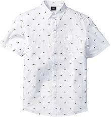 Bonprix Koszula z krótkim rękawem w delikatny deseń Regular Fit biały z nadrukiem