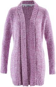 Bonprix Sweter bez zapięcia z przędzy boucle matowy jeżynowy melanż