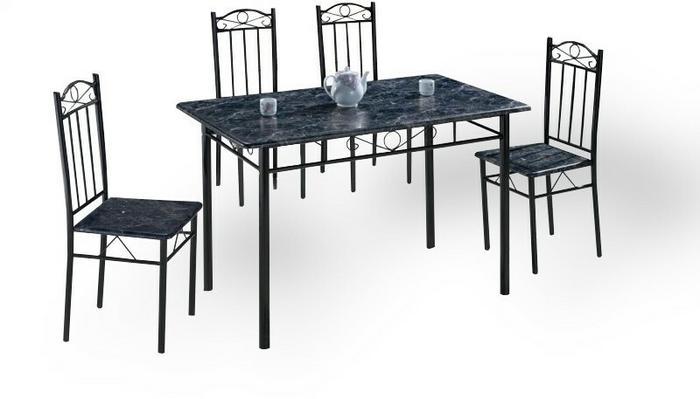 Lectus Zestaw stołowy Limita 4 krzesła ciemny marmur