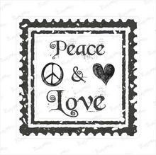 Crafty Moly Stempel gumowy znaczek pocztowy- peace&love P01-168