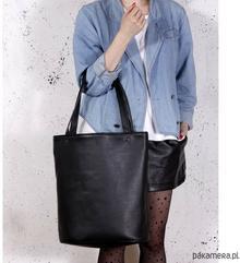 Shopper XL torba czarna na zamek