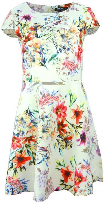 Sukienka rozkloszowana z piękne kwiaty (biała) : Rozmiar - M