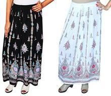 Royal Wholesale 2PCS. lot Sequins Long Maxi Women's Indian Skirt (Black/White) B0771WVGS6