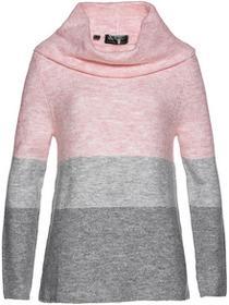 Bonprix Sweter pastelowy jasnoróżowy - szary melanż - jasnoszary - jasnoszary melanż