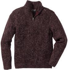 Bonprix Sweter melanżowy ze stójką Regular Fit bordowy melanż