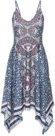 Bonprix Sukienka z dżerseju z nadrukiem i aplikacją z perełek niebieski z nadrukiem
