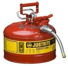 Topserw Pojemnik zabezpieczający stalowy na płyny łatwopalne 9.5 l, Typ II, AccuFlow, wąż spustowy 16 mm, czerwony