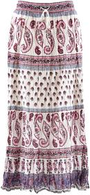Bonprix Długa spódnica biel wełny z nadrukiem