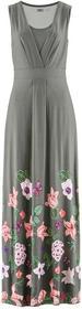 Bonprix Długa sukienka szary w kwiaty