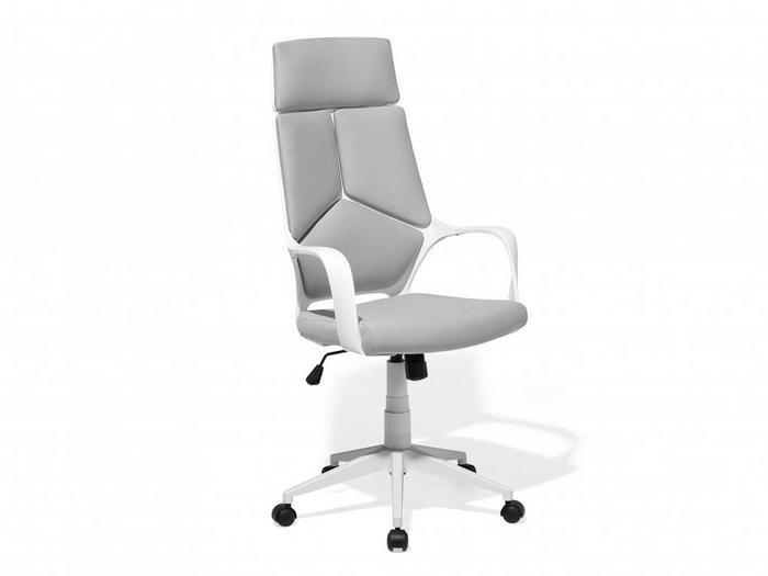 Beliani Krzesło Biurowe Biało Szare Regulowana Wysokość Delight