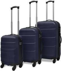 vidaXL 3 Walizki podróżne z twardą obudową na kółkach niebieskie