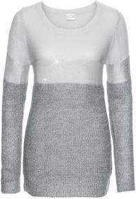 Bonprix Sweter z metalicznym nadrukiem ciemnoszaro-jasnoszaro-srebrny