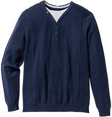Bonprix Sweter 2 w 1 Regular Fit ciemnoniebieski
