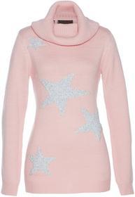 Bonprix Sweter pastelowy jasnoróżowy - srebrny
