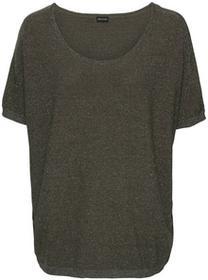Bonprix Sweter z lureksową nitką, krótki rękaw ciemnooliwkowy melanż
