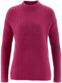 Bonprix Sweter ze stójką i strukturalnym wzorem jeżynowo-czerwony
