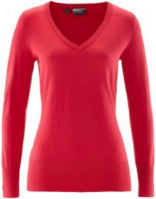 Bonprix Sweter z dekoltem w serek czerwony