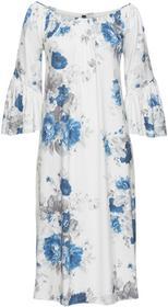 Bonprix Długa sukienka shirtowa biel wełny - niebieski z nadrukiem