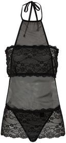 Bonprix Koszulka nocna + biustonosz opaska + stringi (3 części) czarny