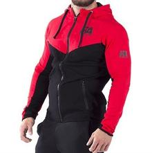 Fitness Authority FA Hoodie Jacket 01 Basic Black Red S 9088