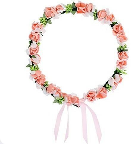 AWAYTR awaytr Flower wreath Headband Floral Crown Garland Halo for Wedding festiwale (Peachy Pink) by awaytr 608255066163
