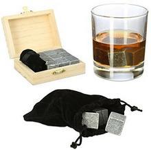 Relaxdays kamienie do whisky, steatyt na kostki do lodu, nadaje się do ponownego użytku, zestaw upominkowy, Box, wys. x szer. x gł.: 3,5x 10x 8cm, antracyt