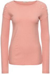 Bonprix Sweter z aplikacją z perełek różowy