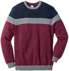 Bonprix Sweter Regular Fit niebiesko-szaro-czerwony