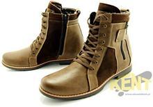 KENT KENT 237 BRĄZ+WELUR - Wysokie męskie buty zimowe ze skóry