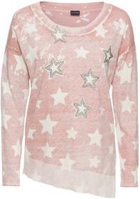 Bonprix Sweter z asymetryczną linią dołu stary jasnoróżowy - biały wzorzysty