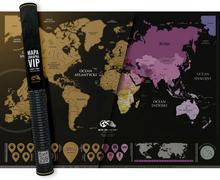 Mapa świata zdrapka VIP czarno-złota Playprint