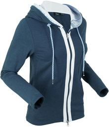 Bonprix Bluza rozpinana, długi rękaw ciemnoniebieski melanż