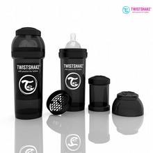 Twistshake Butelka antykolkowa 260ml ZESTAW 0m+ Czarna