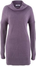 Bonprix Długi sweter z golfem matowy lila