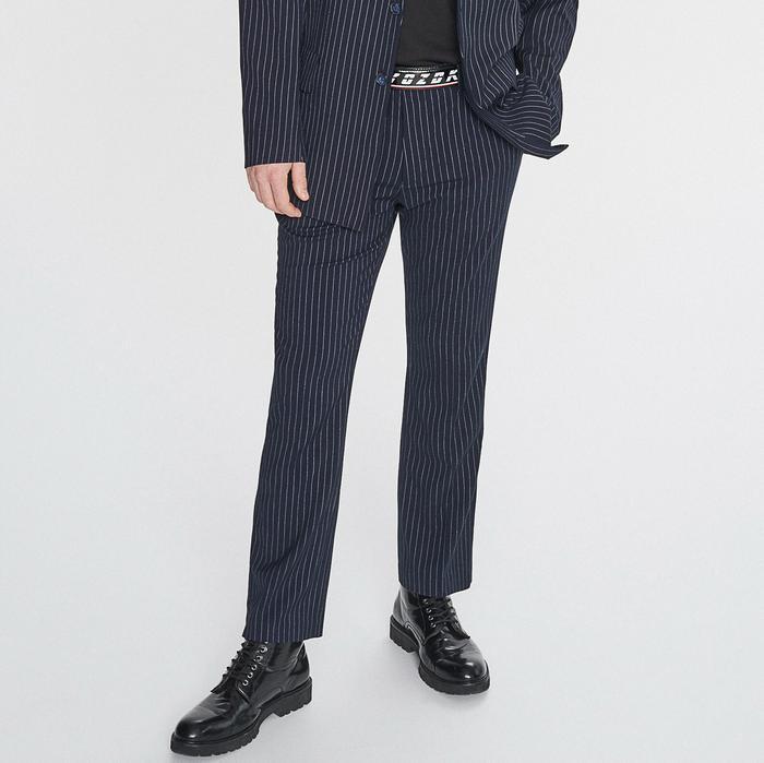 Reserved Spodnie w prążki redesign Granatowy – ceny, dane