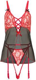 Bonprix Koszulka babydoll + stringi z paskami do pończoch (2 części) czarno-czerwony