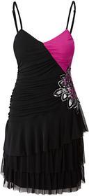 Bonprix Sukienka z falban fuksja-czarny