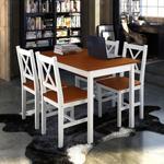 vidaXL Drewniany zestaw: stół i cztery krzesła. kolor biel brąz