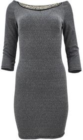 Sukienka ołówkowa z aplikacją (szara) : Rozmiar - S