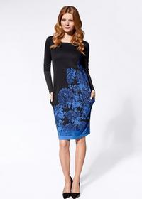 Bonprix Sukienka żakardowa czarno-niebieski