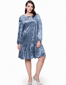 L'Ame de Femme Sukienka welurowa niebieska Amana plus size