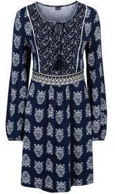 Bonprix Sukienka z dżerseju z wiązanym paskiem ciemnoniebieski z nadrukiem
