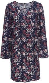 Bonprix Must have: sukienka ze sznurowaniem ciemnoniebieski wzorzysty