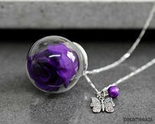 925 Srebrny łańcuszek prawdziwa róża (fiolet)