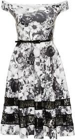 Bonprix Sukienka w kwiaty czarno-biały