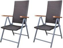 vidaXL vidaXL Krzesła ogrodowe, polirattan+aluminiowa rama x2