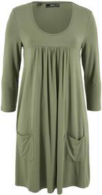 Bonprix Sukienka shirtowa z rękawami 3/4 zielony lodenowy