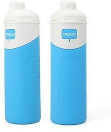 Butelka Składany 500 ML na wodę przenośna izolowane silikon kubki Outdoor Sports zakrytych lekkie silikon zatyczka do butelek Travel kemping woda, niebieski KZDB-001