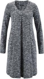 Bonprix Sukienka shirtowa, długi rękaw czarny melanż